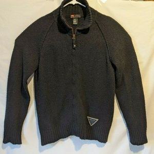 Diesel Mens Sweater XL Black Zip up Wool Blend
